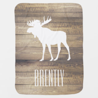 Rustic Barn Wood Planks White Moose & Name Swaddle Blanket