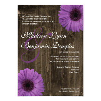 Rustic Barn Wood Purple Daisy Wedding Invitations