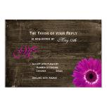 Rustic Barn Wood Purple Daisy Wedding RSVP Cards
