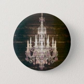 Rustic Barn Wood purple french chandelier Pinback Button