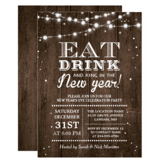 Rustic Barn Wood | Ring in the New Years Eve Party Card