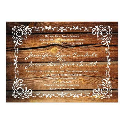 """Rustic Scroll Design: Rustic Barn Wood Scroll Frame Wedding Invitations 4.5"""" X 6"""