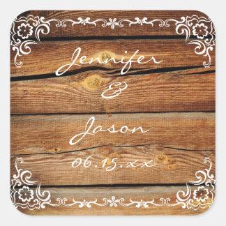 Rustic Barn Wood Scroll Frame Wedding Sticker Seal