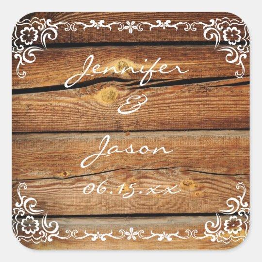 Rustic Scroll Design: Rustic Barn Wood Scroll Frame Wedding Sticker Seal