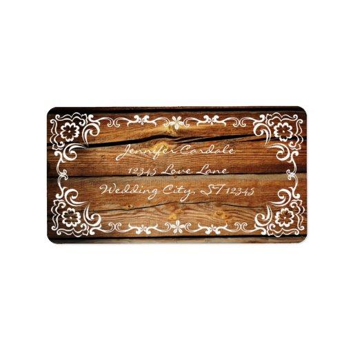 Rustic Scroll Design: Rustic Barn Wood Scroll Wedding Address Labels