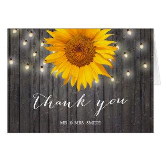 Rustic Barn Wood String Lights Sunflower Thank You Card