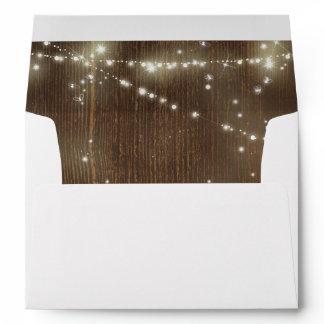 Rustic Barn Wood String Lights Wedding Envelope
