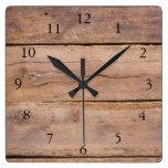 Rustic barn wood stylish elegant square wall clock