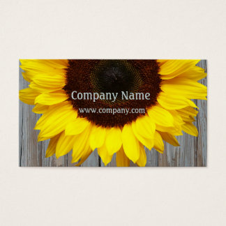 Rustic Barn Wood Sunflower Business Card