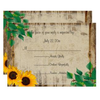 Rustic Barn Wood Sunflower Card