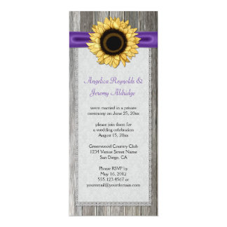 Rustic Barn Wood Sunflower Purple Ribbon Lace Card