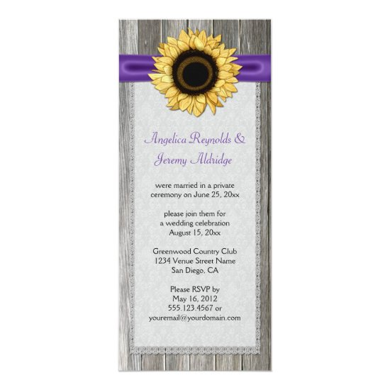 Rustic Barn Wood Sunflower Purple Ribbon Lace Invitation