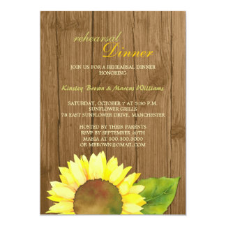 Rustic Barn Wood Sunflower Rehearsal Dinner Card