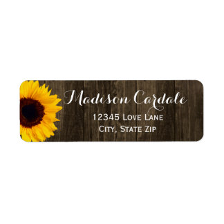 Rustic Barn Wood Sunflower Return Address Labels