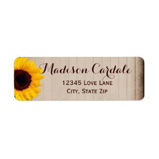 Rustic Barn Wood Sunflower Return Address Labels
