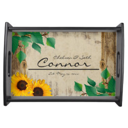 Rustic Barn Wood Sunflower Serving Tray
