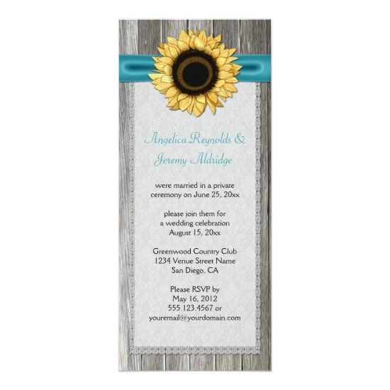 Rustic Barn Wood Sunflower Teal Ribbon Lace Invitation