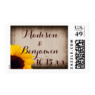 Rustic Barn Wood Sunflower Wedding Postage Stamps