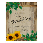 Rustic Barn Wood Sunflower Wedding Welcome Poster
