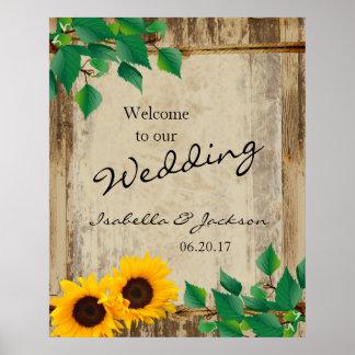Rustic Barn Wood Sunflower Wedding Welcome Poster