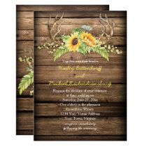 Rustic Barn Wood Sunflowers Antlers Wedding Card