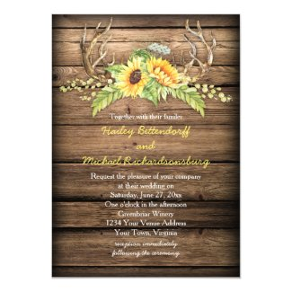 Rustic Sunflowers and Antlers Wedding Invitations