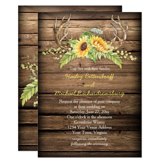 Rustic Barn Wood Sunflowers Antlers Wedding Invitation