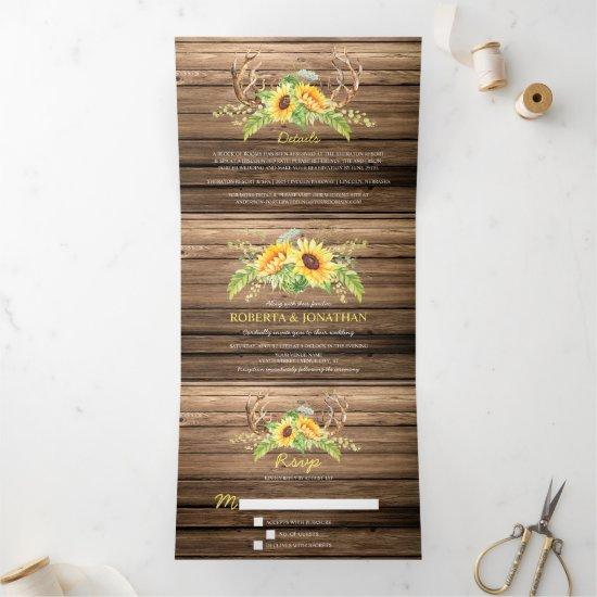 Rustic Barn Wood Sunflowers Antlers Wedding Tri-Fold Invitation
