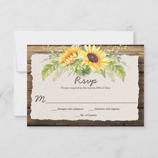 Rustic Barn Wood Sunflowers Deckle Edge RSVP Card