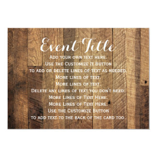 Rustic Barn Wood Table Signage Card 5 x 7 Invite