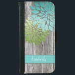 "Rustic Barn Wood Teal Green Petals Monogram Wallet Phone Case For iPhone 6/6s<br><div class=""desc"">Rustic Gray Barn Wood with Modern Teal and Spring Green Petals with a FAUX texture iPhone6 Wallet Case. Personalize with your own name.</div>"