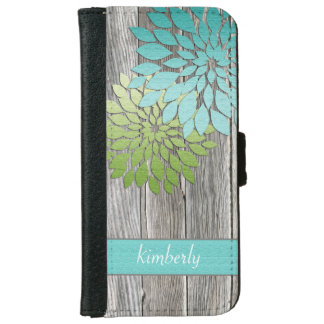 Rustic Barn Wood Teal Green Petals Monogram Wallet Phone Case For iPhone 6/6s