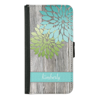 Rustic Barn Wood Teal Green Petals Monogram Wallet Phone Case For Samsung Galaxy S5