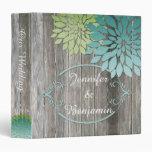 Rustic Barn Wood Teal Green Petals Wedding Album 3 Ring Binder