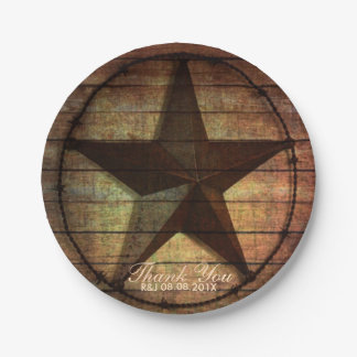 rustic barn wood texas star western wedding favor paper plate