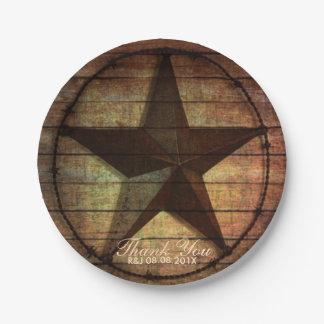 rustic barn wood texas star western wedding favor paper plate