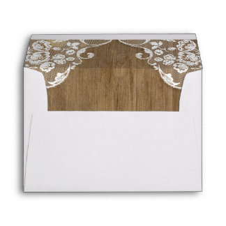 Rustic Barn Wood Texture and Vintage Lace Wedding Envelope