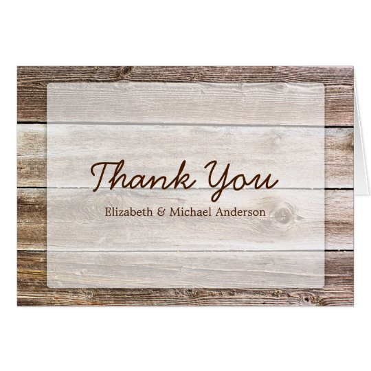 Rustic Barn Wood Thank You Card