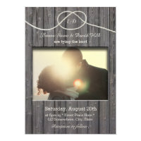 Rustic Barn Wood Tying the Knot Photo Wedding Card
