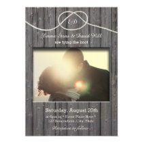 Rustic Barn Wood Tying the Knot Photo Wedding Invitation