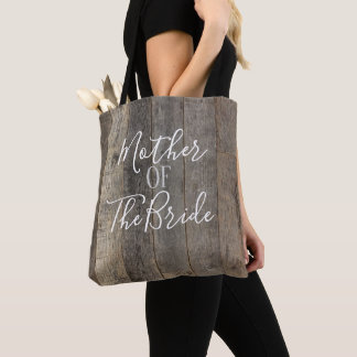Rustic Barn Wood Typography Mother of the Bride Tote Bag