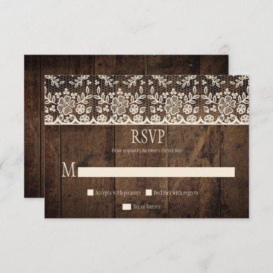 Rustic Barn Wood Vintage Ivory Lace RSVP Card