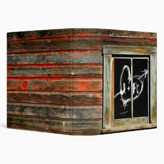 Rustic Barn Wood w/ Graffiti Window Wedding Album 3 Ring Binder