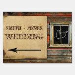 Rustic Barn Wood Wedding Direction Sign