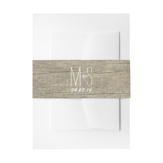 Rustic Barn Wood Wedding Invitation Belly Band