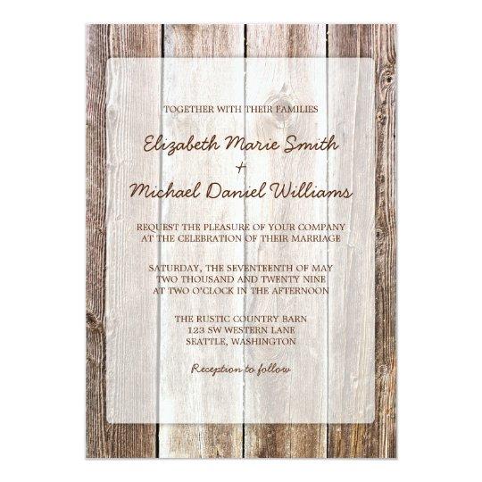 Rustic Barn Wood Wedding Invitations Zazzlecom