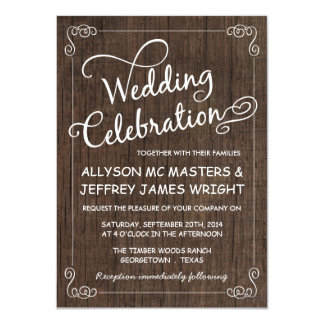 "Rustic Barn Wood Wedding Invitations 4.5"" X 6.25"" Invitation Card"