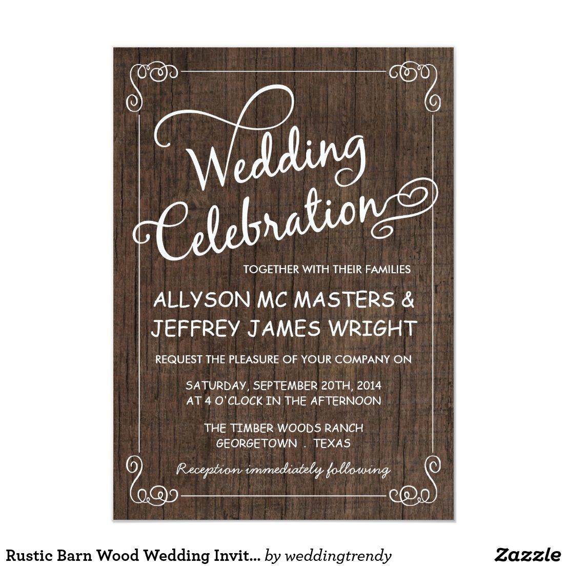 Rustic Barn Wood Wedding Invitations