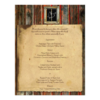 Rustic Barn Wood Wedding Menu