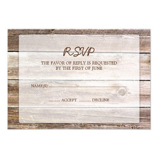 wood wedding rsvp response card 3 5 x 5 invitation card zazzle
